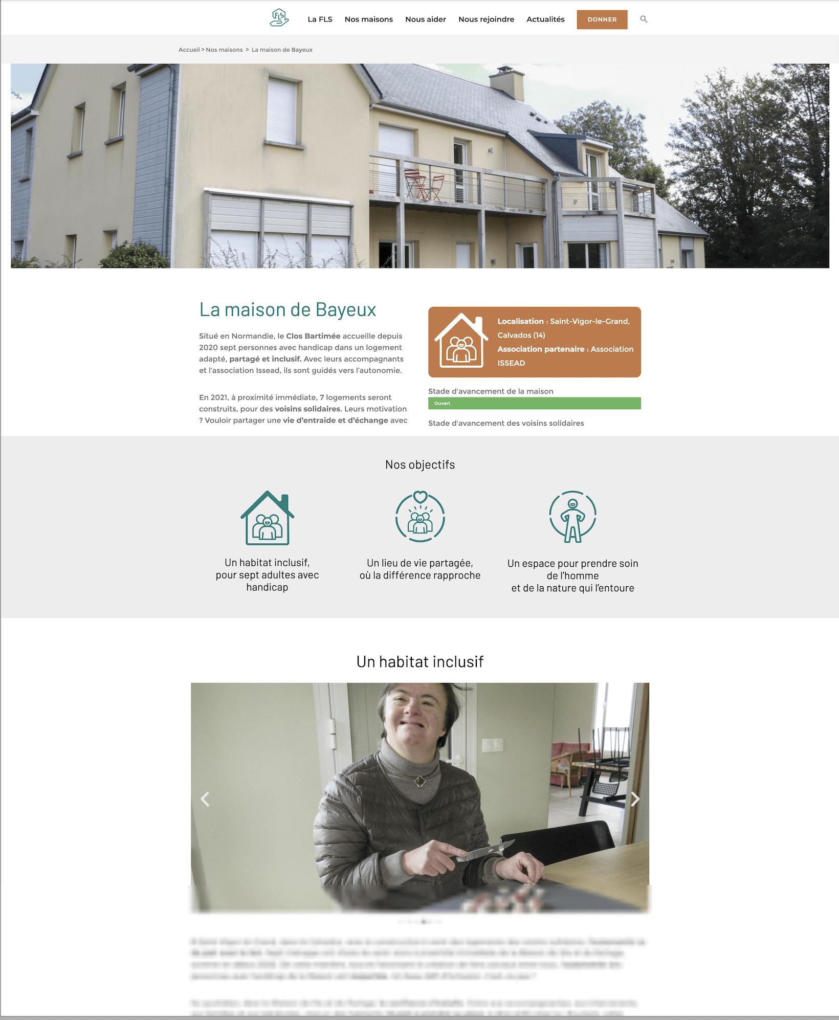Page d'une maison de vie et de partage